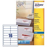 Image of Avery Quick DRY Inkjet Addressing Labels / 16 per Sheet / 99.1x33.9mm / White / J8162-25 / 400 Labels