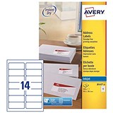 Image of Avery Quick DRY Inkjet Addressing Labels / 14 per Sheet / 99.1x38.1mm / White / J8163-25 / 350 Labels