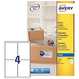 Image of Avery Quick DRY Inkjet Addressing Labels / 4 per Sheet / 139x99.1mm / White / J8169-25 / 100 Labels