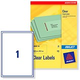 Image of Avery Clear Addressing Labels / 1 per Sheet / 210x297mm / J8567-25 / 25 Labels