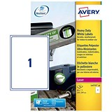 Image of Avery Heavy Duty Laser Labels / 1 per Sheet / 210x297mm / White / L4775-20 / 20 Labels