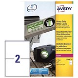 Image of Avery Heavy Duty Laser Labels / 2 per Sheet / 199.6x143.5mm / White / L7068-20 / 40 Labels