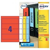 Image of Avery Laser Filing Labels for Lever Arch File / 4 per Sheet / 200x60mm / Assorted / L7171A-20 / 80 Labels
