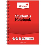 Image of Silvine Student Spiral Wirebound Notebook / A4 / Ruled / Punched / 120 Pages / Pack of 12