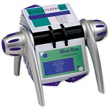 Image of Durable Visifix Flip Rotary File with 200 Pockets for 400 Business Cards - Silver