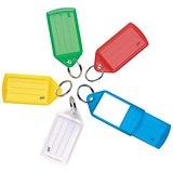 5 Star Key Hanger Sliding Fob Label Area 52x32mm Tag Size Large 73x38mm Assorted [Pack 50]