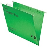 Image of Rexel CrystalFiles FlexiFiles Suspension Files / V Base / 15mm Capacity / Foolscap / Green / Pack of 50