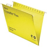 Image of Rexel CrystalFiles FlexiFiles Suspension Files / V Base / 15mm Capacity / Foolscap / Yellow / Pack of 50