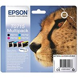 Image of Epson T0715 DURABrite Inkjet Cartridge Multipack - Black, Cyan, Magenta and Yellow (4 Cartridges)