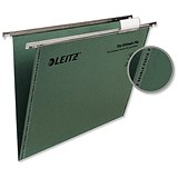 Image of Leitz Ultimate Recycled Suspension Files with Tabs & Inserts / V Base / 15mm Capacity / Foolscap / Green / Pack of 50
