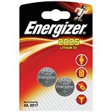 Energizer CR2025 Lithium Battery for Small Electronics / 5003LC / 163mAh / 3V / Pack of 2