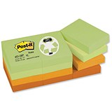 Post-it Recycled Notes / 38x51mm / Pastel Rainbow / Pack of 12 x 100 Notes