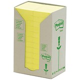 Image of Post-it Recycled Notes Tower Pack / 38x51mm / Pastel Yellow / Pack of 24