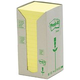Post-it Note Recycled Tower Pack / 76x76mm / Pastel Yellow / Pack of 16