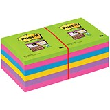 Post-it Super Sticky Removable Notes / 76x76mm / Ultra Assorted / Pack of 12 x 90 Notes
