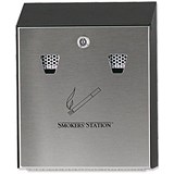 Image of RCP Smokers Station Ash Bin Steel Wall-mounted Lockable Capacity 300 Butts W254xD76xH318mm Ref FGR1012EBK