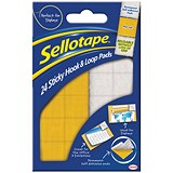 Image of Sellotape Sticky Hook and Loop Pads / 20x20mm / 24 Sets