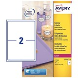 Image of Avery Colour Laser Addressing Labels / 2 per Sheet / 199.6x143.5mm / L7768-40 / 80 Labels