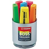 Image of Stabilo Boss Desk Set of Six Highlighters in Pot / Assorted Colours