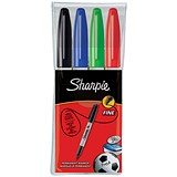 Image of Sharpie Permanent Marker / Fine / Assorted Colours / Pack of 4