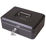 Image of Cash Box with Latch and 2 Keys plus Removable Coin Tray 300mm Black