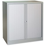 Trexus Medium Side Opening Tambour Cupboard / 1000mm High / Grey