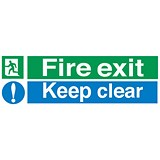 Image of Stewart Superior Fire Exit Sign Keep Clear 600x200mm Polypropylene Ref SP055PVC