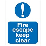Image of Stewart Superior Fire Escape Keep Clear Self Adhesive Sign Ref M025SAV