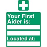 Image of Stewart Superior Your First-Aider Is Located At Self Adhesive Sign Ref SP049SAV