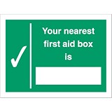 Image of Stewart Superior Your Nearest First-Aid Box Is Self Adhesive Sign Ref SP075SAV