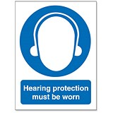 Image of Stewart Superior Hearing Protection Must Be Worn Self Adhesive Sign Ref M002SAV