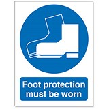 Image of Stewart Superior Foot Protection Must Be Worn Self Adhesive Sign Ref M003SAV