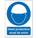 Image of Stewart Superior Head Protection Must Be Worn Self Adhesive Sign Ref M005SAV