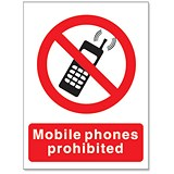 Image of Stewart Superior Mobile Phones Prohibited Self Adhesive Sign Ref P087SAV
