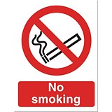 Image of No Smoking Sign 150x200mm White Self-adhesive Vinyl
