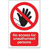 Stewart Superior No Access For Unauthorised Persons Sign Outdoor Use W200xH300mm Foamboard