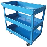 Image of 5 Star 3 Tier Tray Trolley - Blue