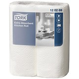 Image of Tork Extra Absorbent Recycled Kitchen Towels / 2-Ply / White / 2 Rolls of 64 Sheets