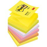 Post-it Z-Notes / 76x76mm / Neon Rainbow / Pack of 6 x 100 Notes