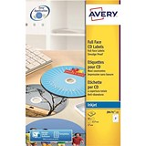Avery Inkjet CD/DVD Labels / 2 per Sheet / 117mm Diameter / QuickDRY / J8676-25 / 50 Labels