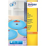 Image of Avery Laser CD/DVD Labels / 2 per Sheet / 117mm Diameter / Black and White / L7676-25 / 50 Labels