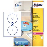 Avery Laser CD/DVD Labels / 2 per Sheet / 117mm Diameter / Photo Quality Glossy Colour / L7760-25 / 50 Labels