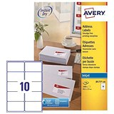 Image of Avery Quick DRY Inkjet Addressing Labels / 10 per Sheet / 99.1x57.0mm / White / J8173-100 / 1000 Labels