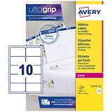 Image of Avery Jam-free Laser Addressing Labels / 10 per Sheet / 99.1x57mm / White / L7173-250 / 2500 Labels