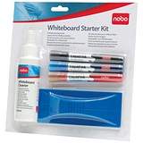 Nobo Whiteboard Starter Kit - Includes Eraser, Cleaner & 3 Drymarkers