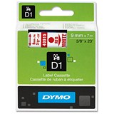 Image of Dymo D1 Tape for Electronic Labelmakers 9mmx7m Red on White Ref 40915 S0720700
