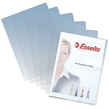 Image of Esselte Standard Cut Flush Folders / Plastic / Copy-safe / A4 / Clear / Pack of 100