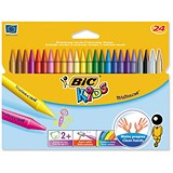 Bic Kids Plastidecor Crayons / Hard Long-lasting / Sharpenable / Vivid Assorted Colours / Pack of 24
