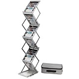Image of Folding Concertina Floor Stand / 6 x A4 Shelves / Silver