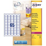 Avery Promotional Laser Mini Labels / 65 per Sheet / 38.1x21.2mm / Neon Yellow / L7651Y-25 / 1625 Labels